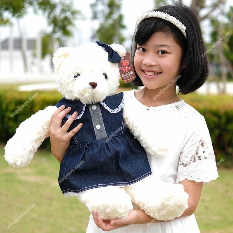 ตุ๊กตาหมีชุดยีนส์ ตุ๊กตาหมีตัวใหญ่ ตุ๊กตาหมีน่ารัก